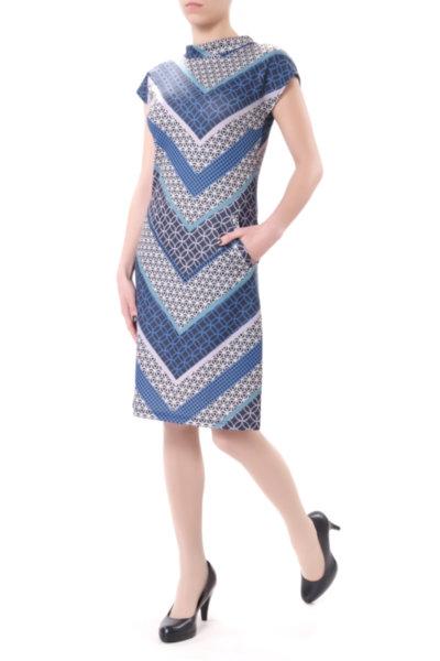 Ретро рокля с джобове и малка поло яка